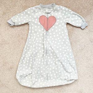 Gray & white heart polka dot fleece sleep sack